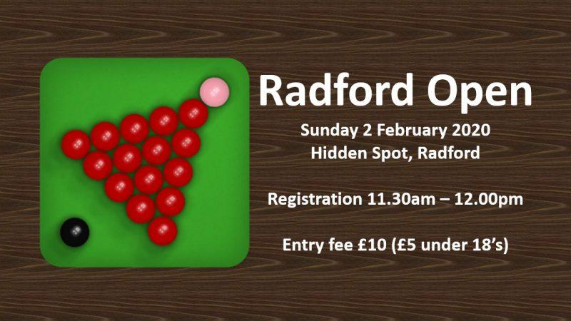 Radford Open Snooker Tournament (02/02/20)
